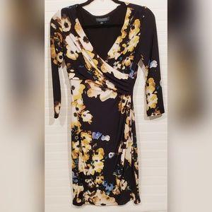 Ralph Lauren Black Floral Print Wrap Dress